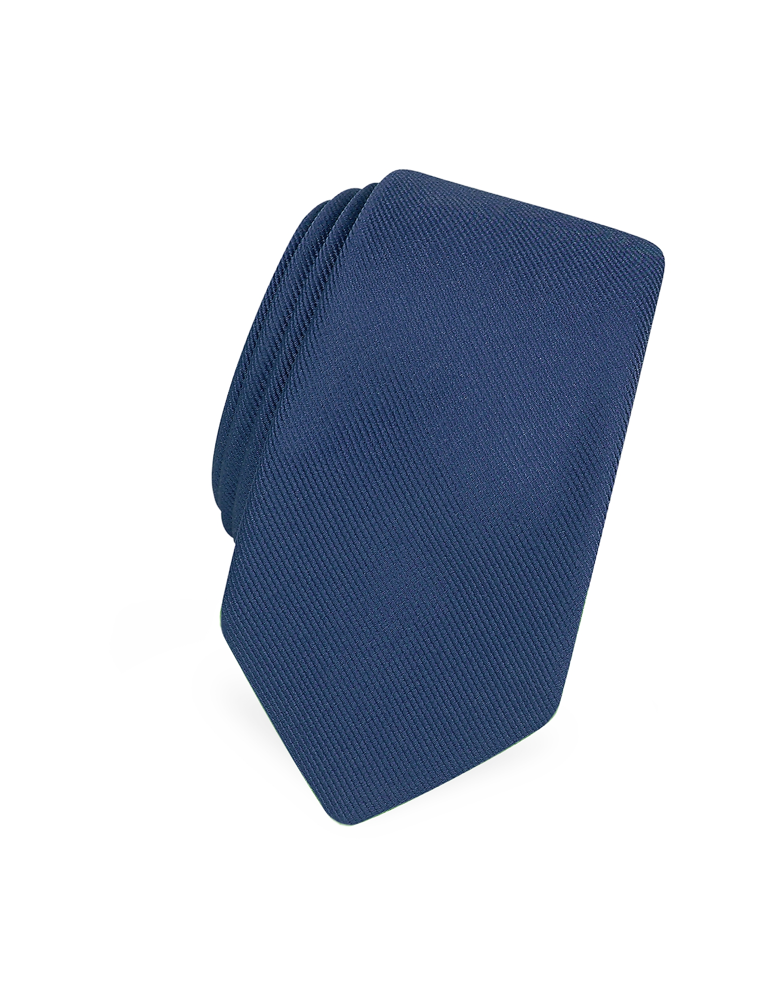 Forzieri Designer Narrow Ties, Solid Blue Twill Silk Narrow Tie