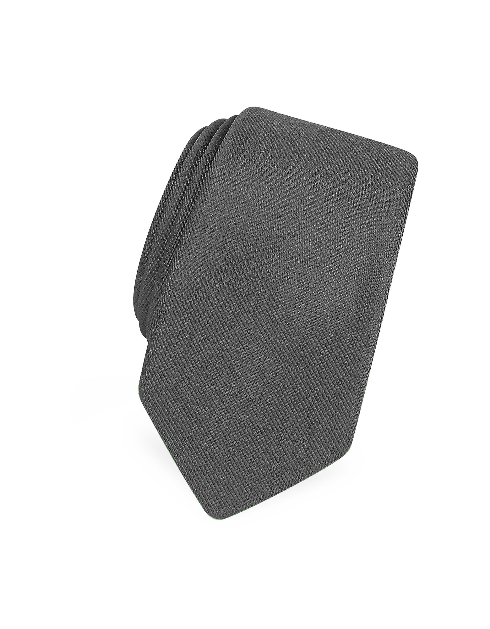 Solide Gris Foncé Twill De Soie Étroit Cravate