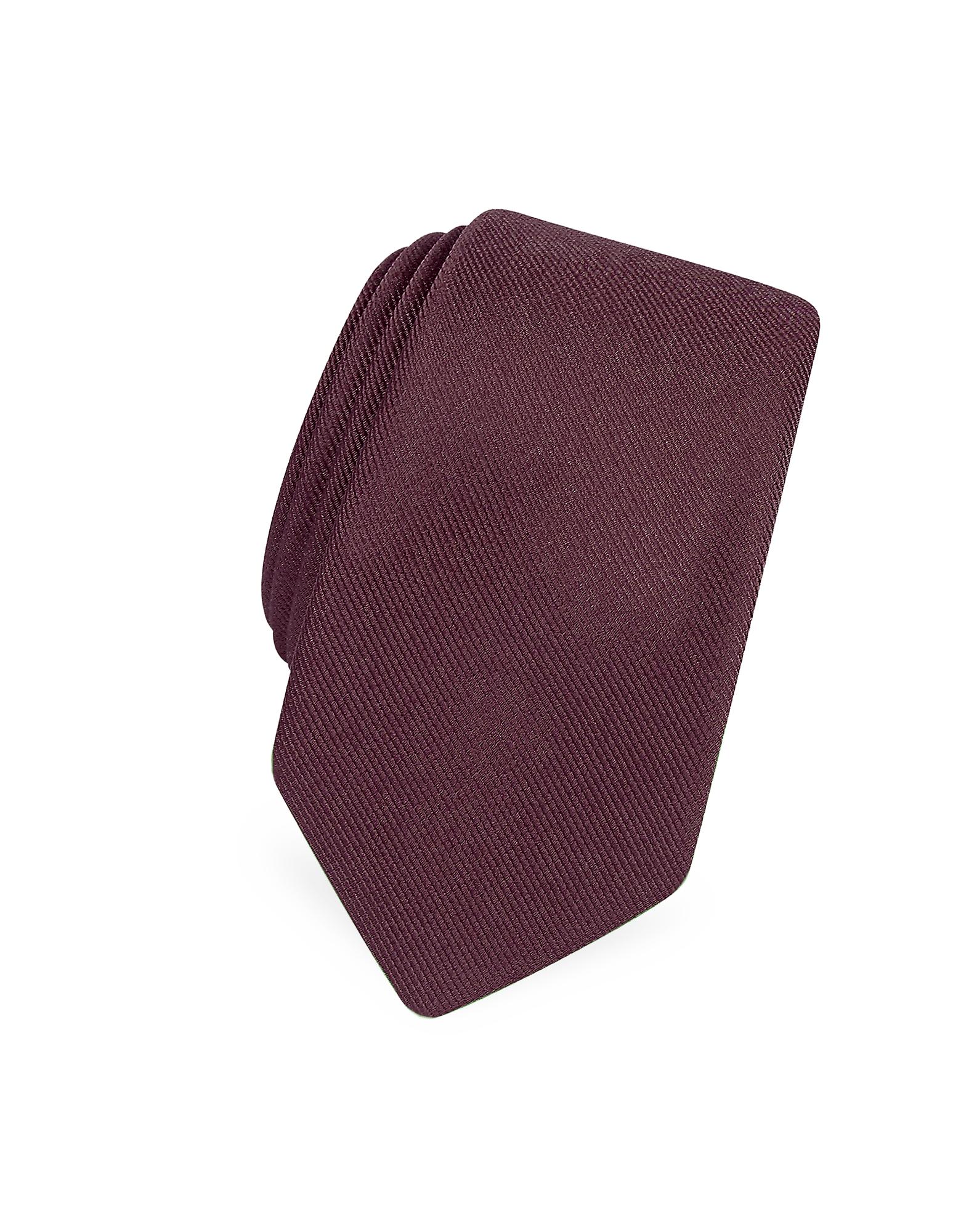 Solide Bourgogne Twill De Soie Étroit Cravate