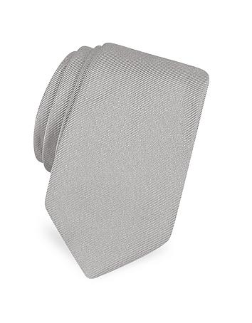 Forzieri - Solid Twill Silk Narrow Tie