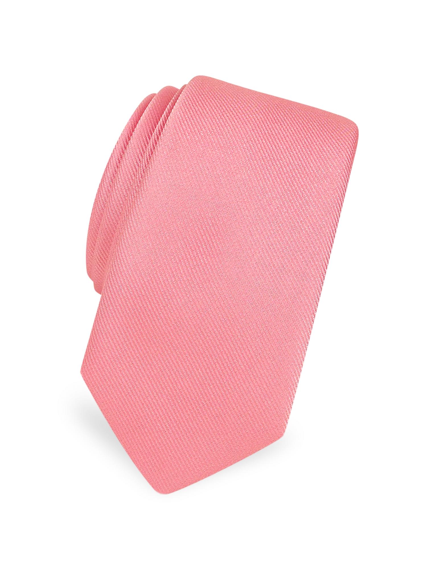 Forzieri Designer Narrow Ties, Solid Twill Silk Narrow Tie