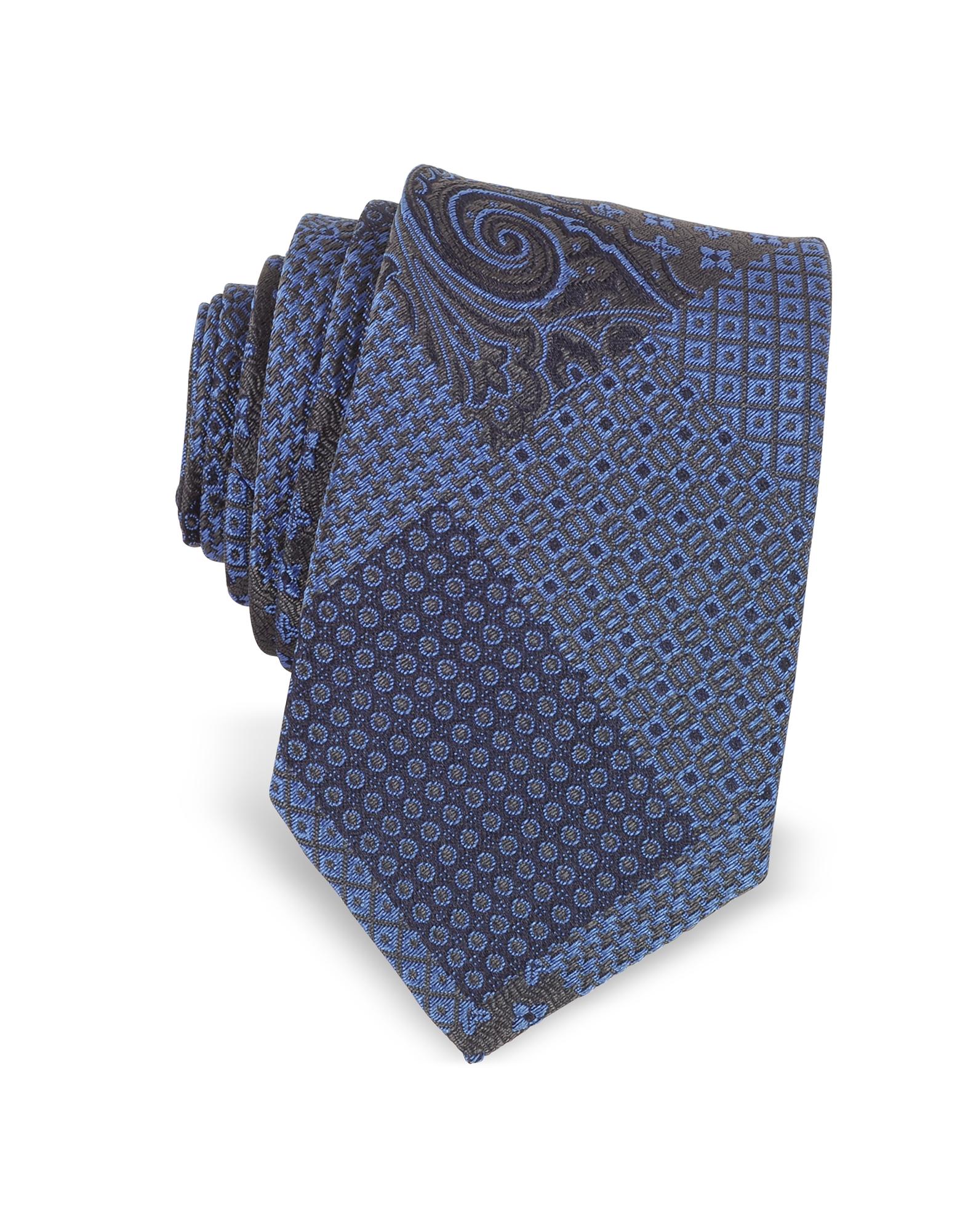 Forzieri Ties, Patchwork Woven Silk Narrow Tie