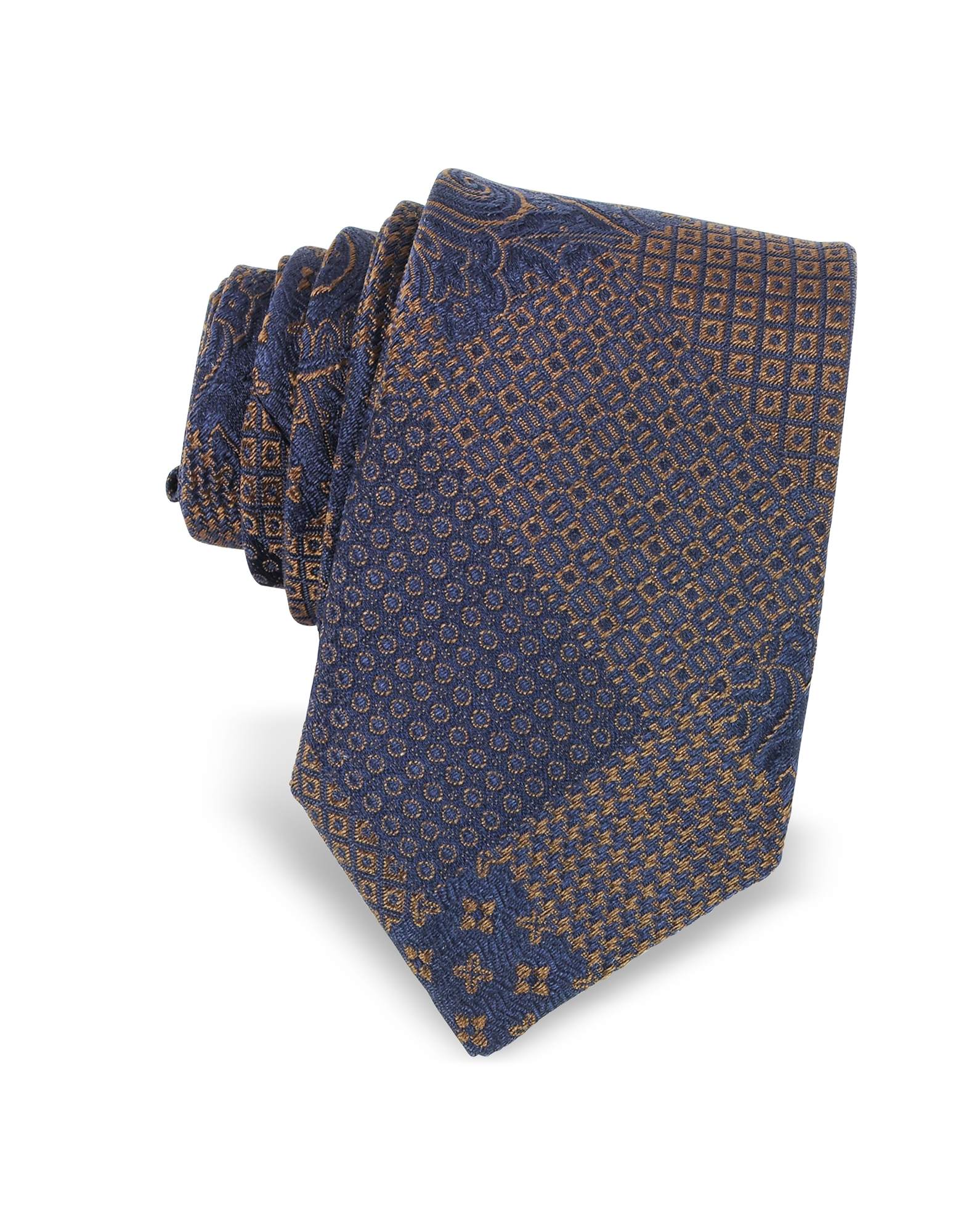 Patchwork Woven Silk Narrow Tie