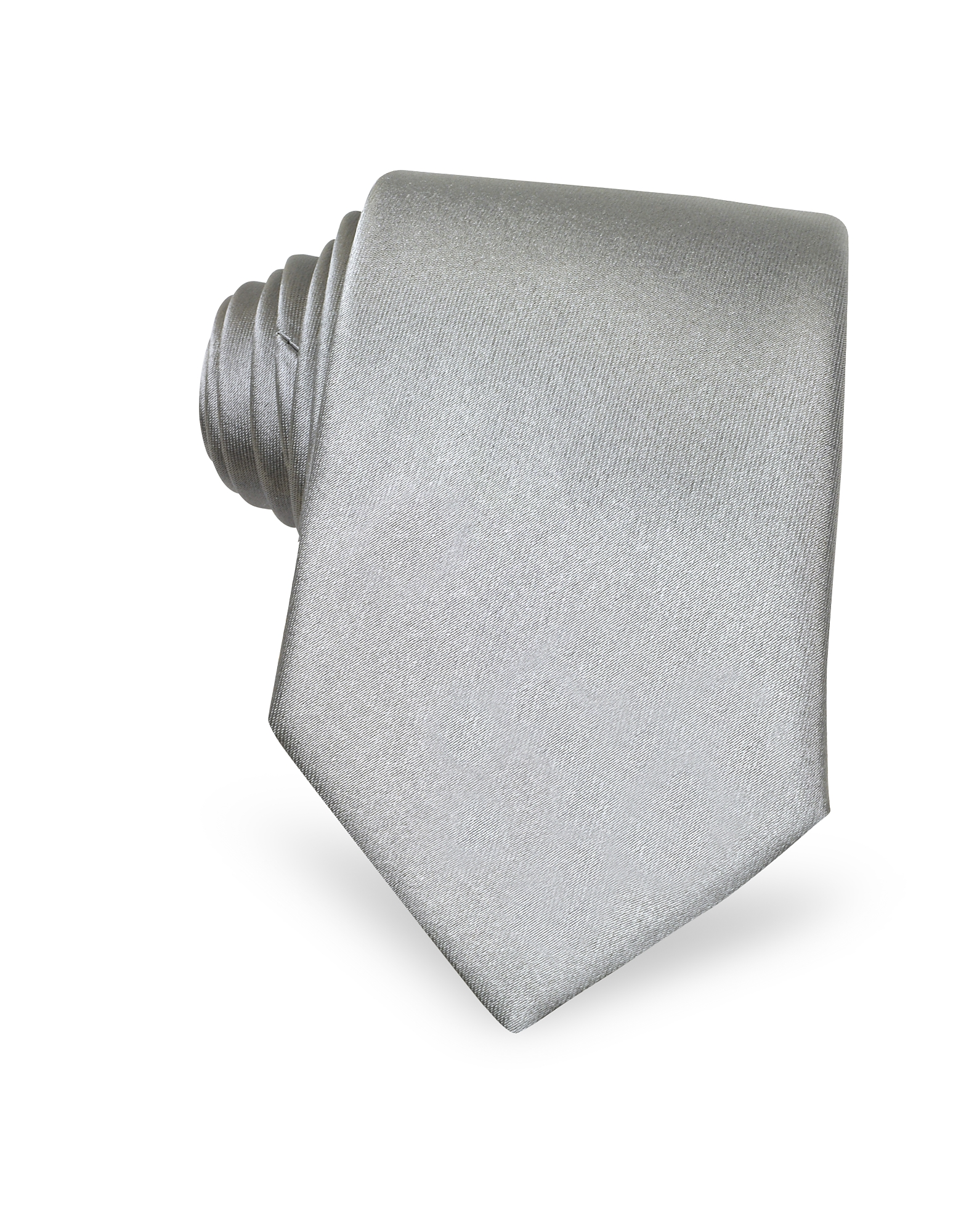 Forzieri Ties, Solid Light Grey Extra-Long Tie
