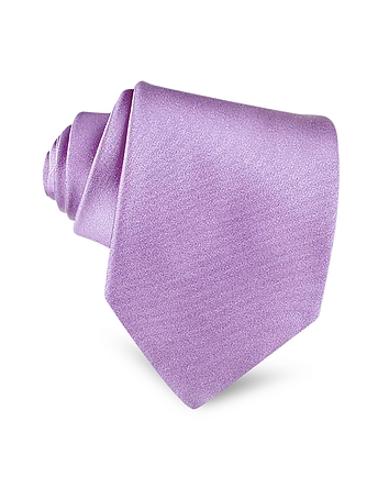 Forzieri - Lilac Solid Smooth Extra-Long Pure Silk Tie