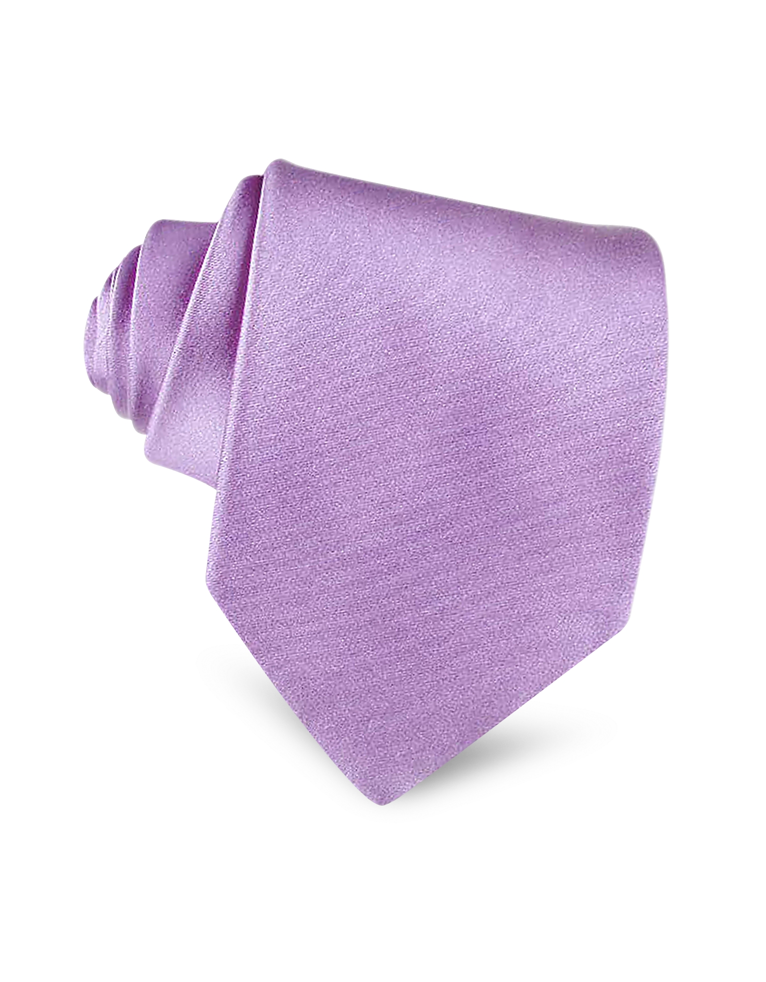 Forzieri Ties, Lilac Solid Smooth Extra-Long Pure Silk Tie