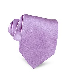 Lilac Solid Smooth Extra-Long Pure Silk Tie - Forzieri