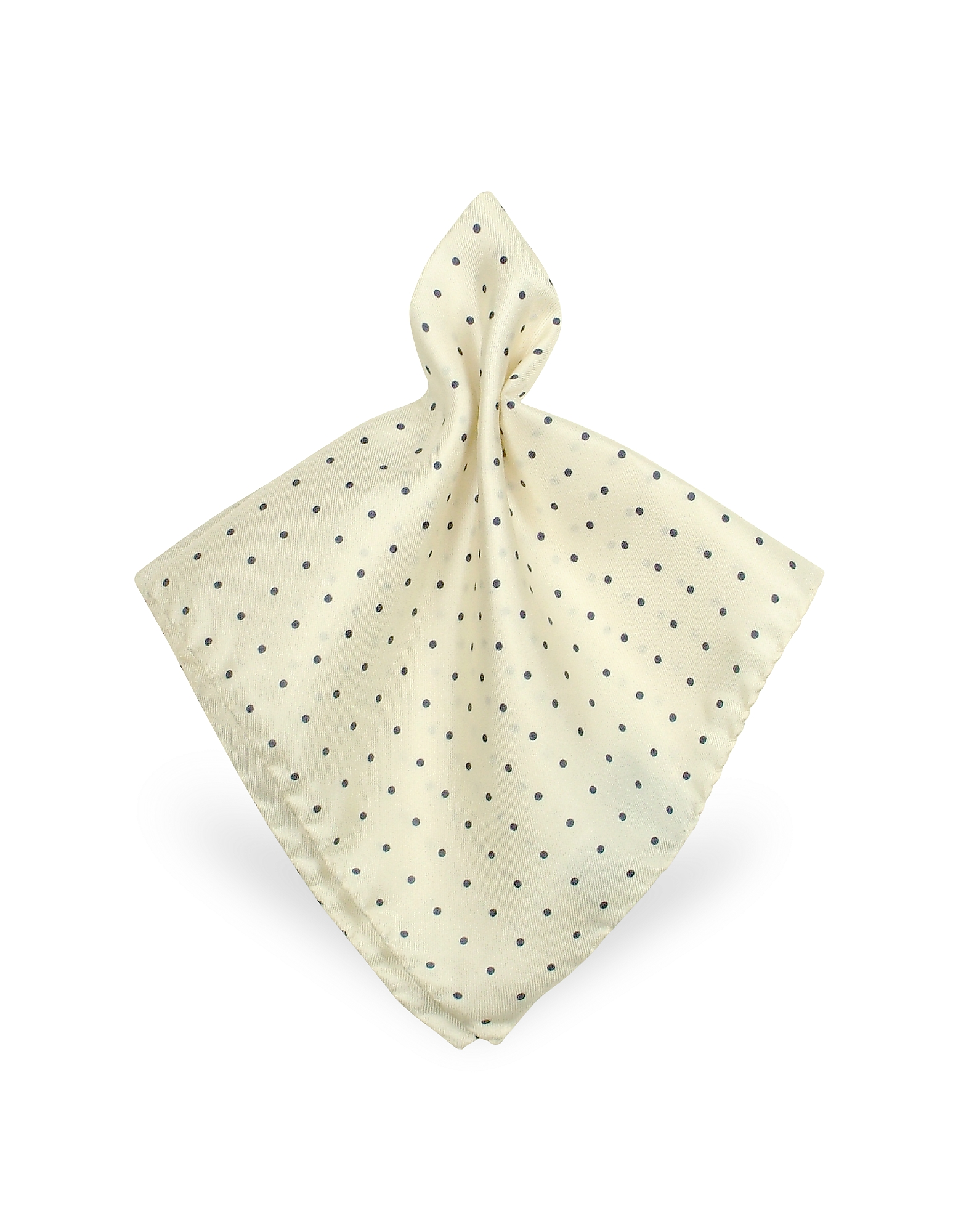 Image of Forzieri Designer Pocket Squares, Polkadot Twill Silk Pocket Square