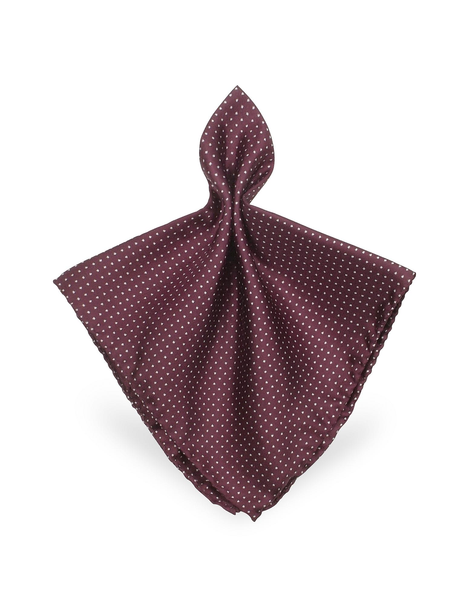Forzieri Pocket Squares, Mini Polkadot Twill Silk Pocket Square