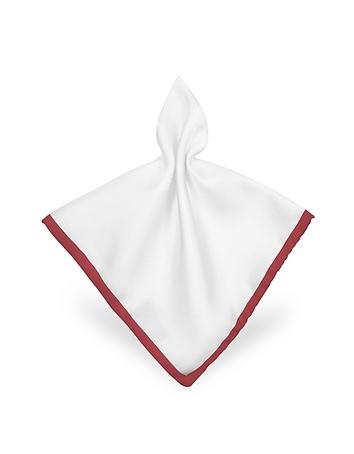 Forzieri - Framed Solid White Silk Pocket Square