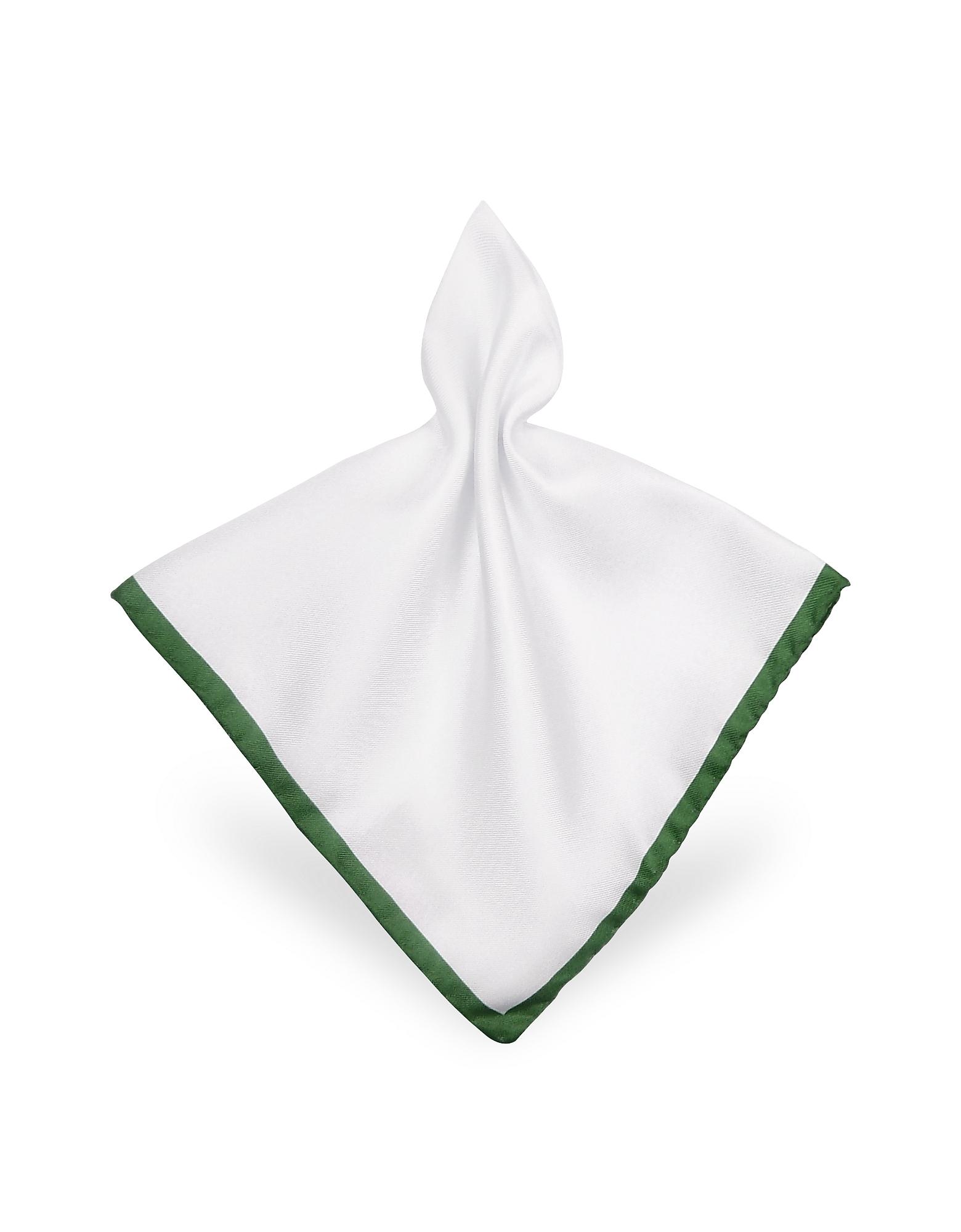 Forzieri Pocket Squares, Framed Solid White Silk Pocket Square