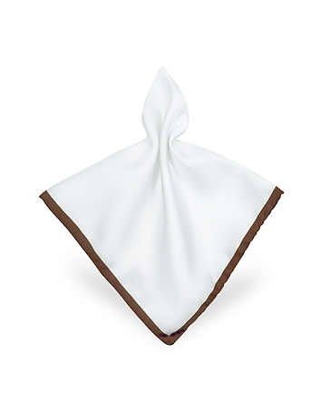 Forzieri - Framed Solid White Silk Pocket Square