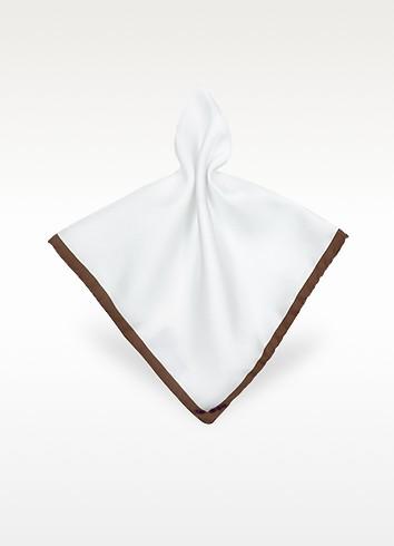 Framed Solid White Silk Pocket Square - Forzieri