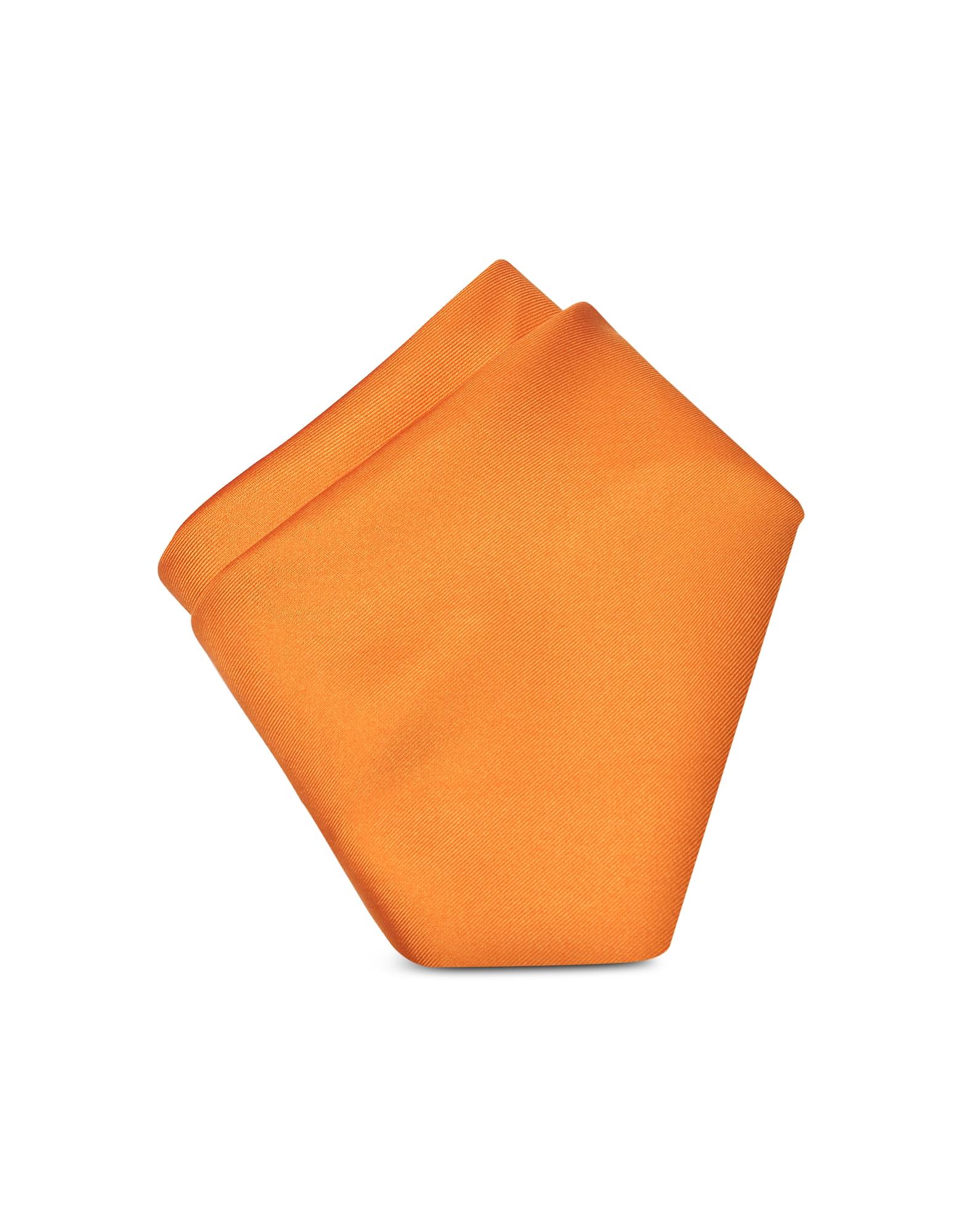Forzieri Designer Handkerchiefs, Orange Silk Pocket Square