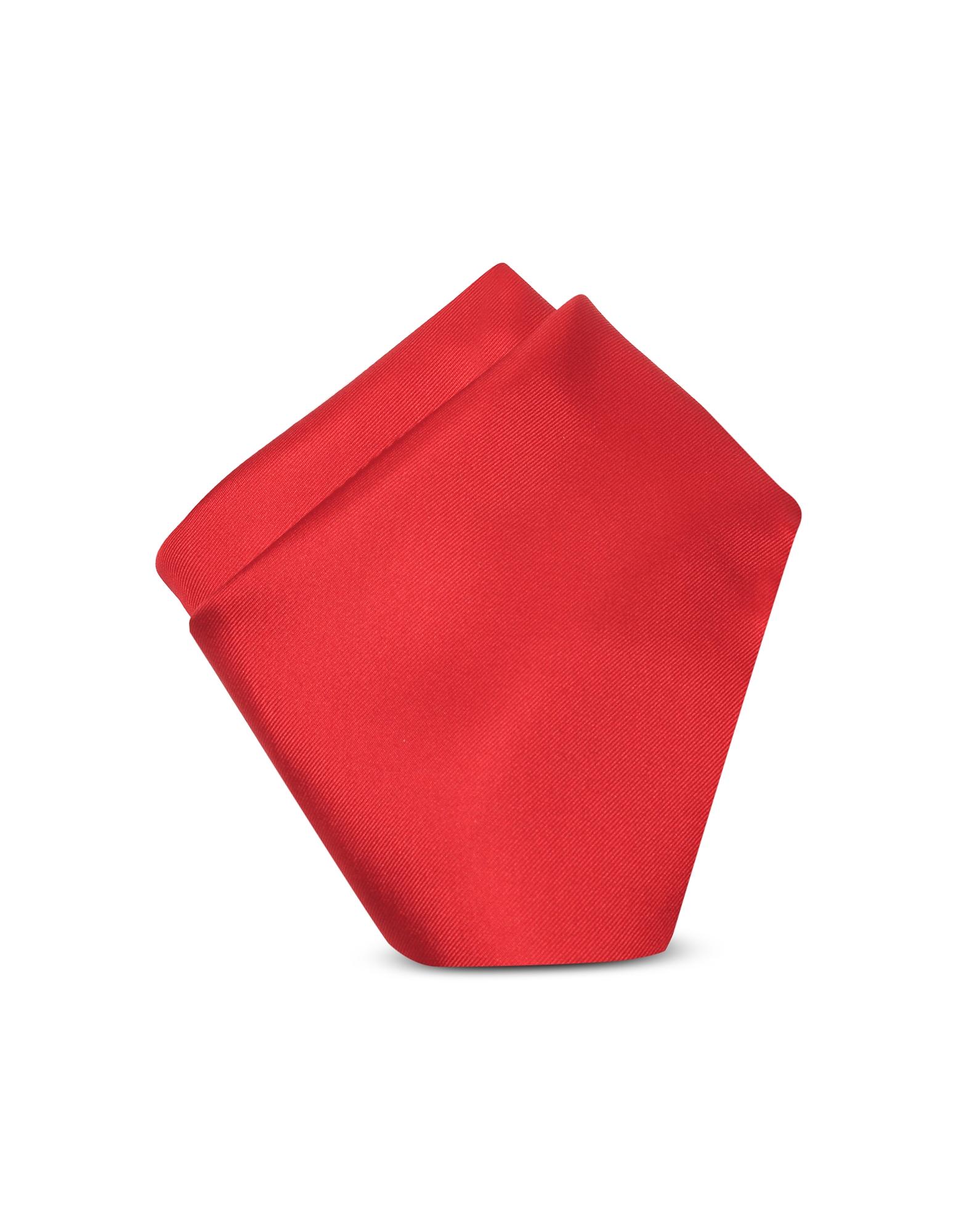 Forzieri Designer Handkerchiefs, Red Silk Pocket Square