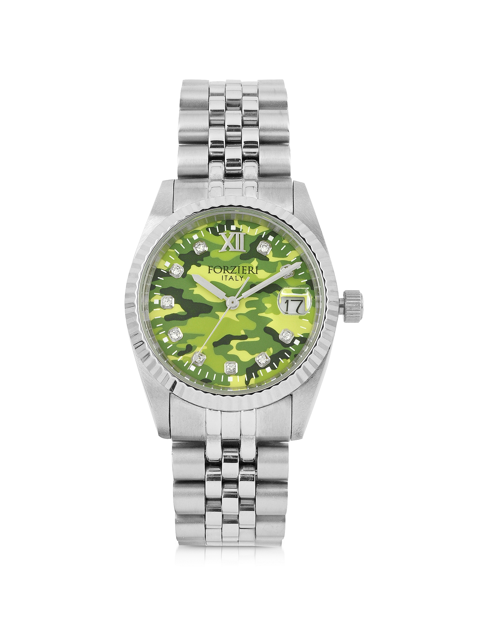 Forzieri Women's Watches, Trevi Silver Tone Stainless Steel Women's Watch w/Green Camo Dial