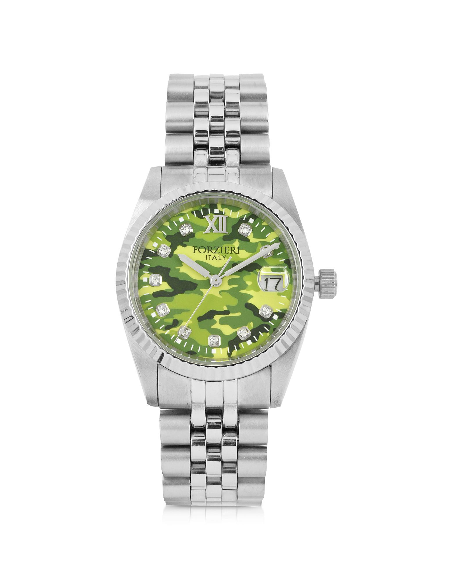 Trevi Silver Tone Stainless Steel Women's Watch w/Green Camo Dial - Forzieri