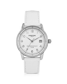 Discovery Lady Silver Tone Stainless Steel Case and Genuine Leather Strap Women's Watch - Forzieri