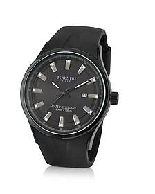 Black Rubber Strap Date Watch  - Forzieri
