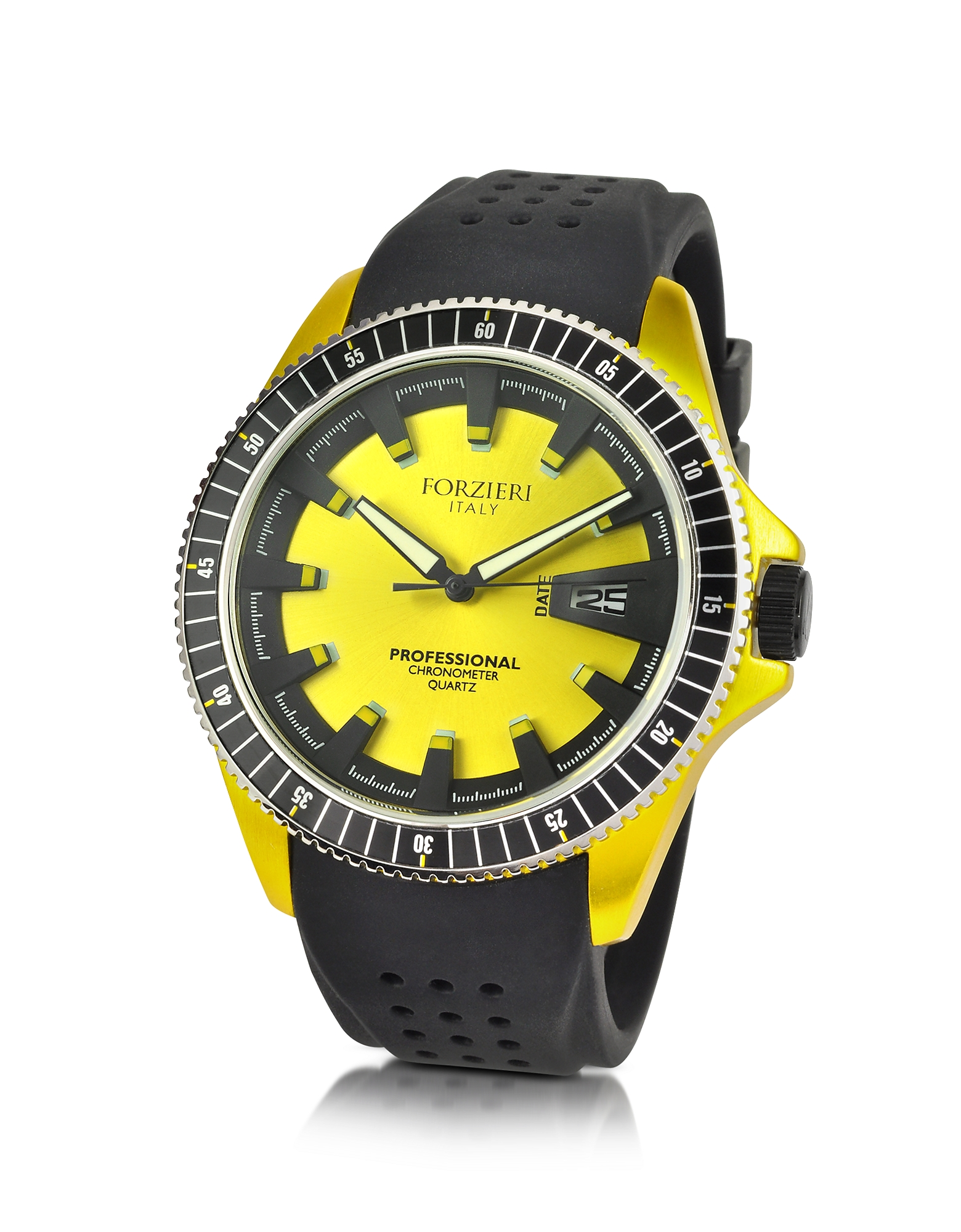 Forzieri Men's Watches, Yellow Aluminum Case Watch w/Rubber Strap