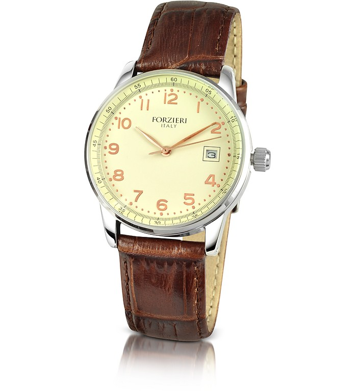 Women's Croco Stamped Leather Date Watch  - Forzieri