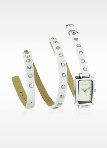 Nina - White Leather Wrap Bracelet Watch - Forzieri
