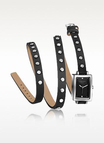 Nina - Black Leather Wrap Bracelet Watch - Forzieri