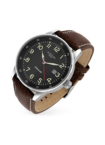 Forzieri Avio - Men's Brown Leather Band Automatic Date Watch
