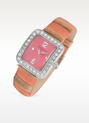 Vanilla - Crystal & Pink Calf-Hair Dress Watch - Forzieri