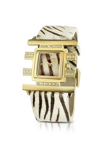 Forzieri Teie - Swarovski Crystal and Zebra Hair-Calf Band Dress Watch :  swarovski forzieri jewelry gifts