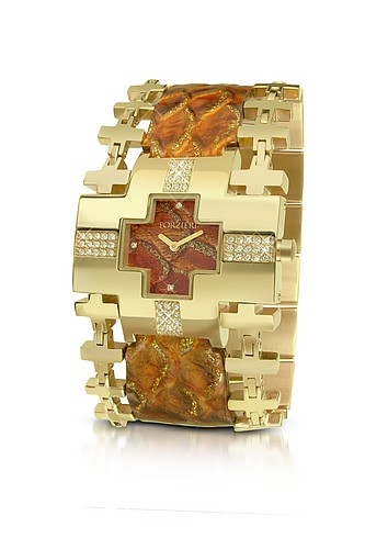 Forzieri Nefertiti- Gold Reptile Stamped Leather Band Dress Watch :  swarovski accessory women womens