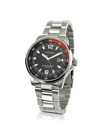 Forzieri - Men's Stainless Steel Bracelet Dive Watch