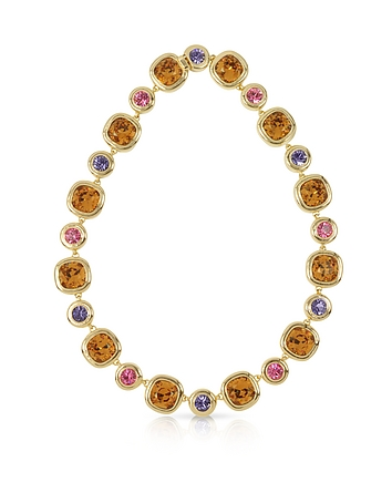Forzieri - Purple Pink and Orange Crystals Necklace