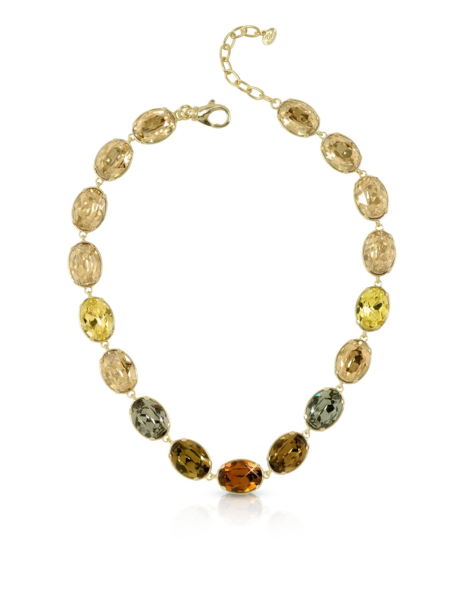 Золотистое Ожерелье с Кристаллами