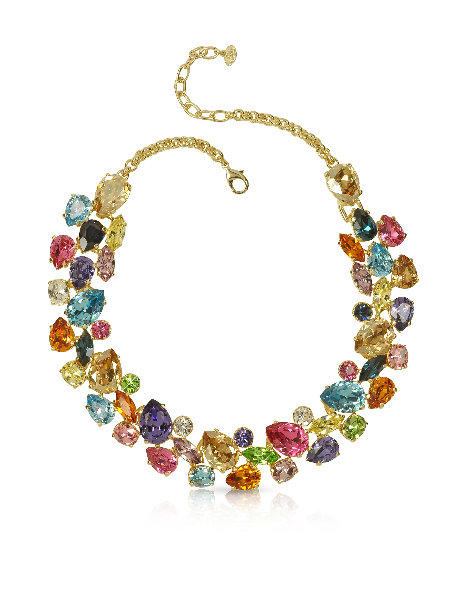 Forzieri Necklaces, Multicolor Crystal and Metal Necklace