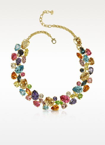 Multicolor Crystal and Metal Necklace - Forzieri