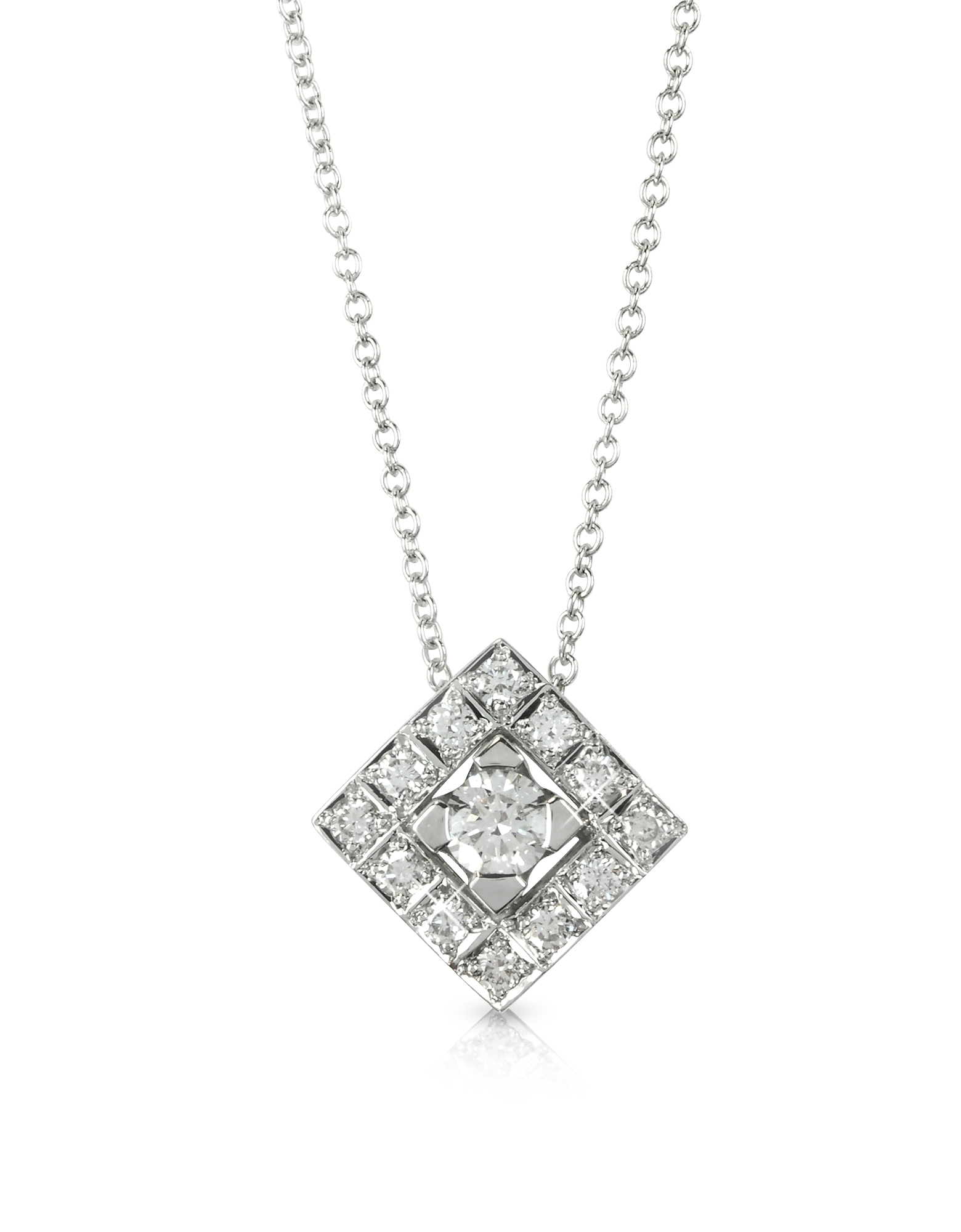 Forzieri Necklaces, 0.45 ctw Diamond 18K White Gold Pendant Necklace
