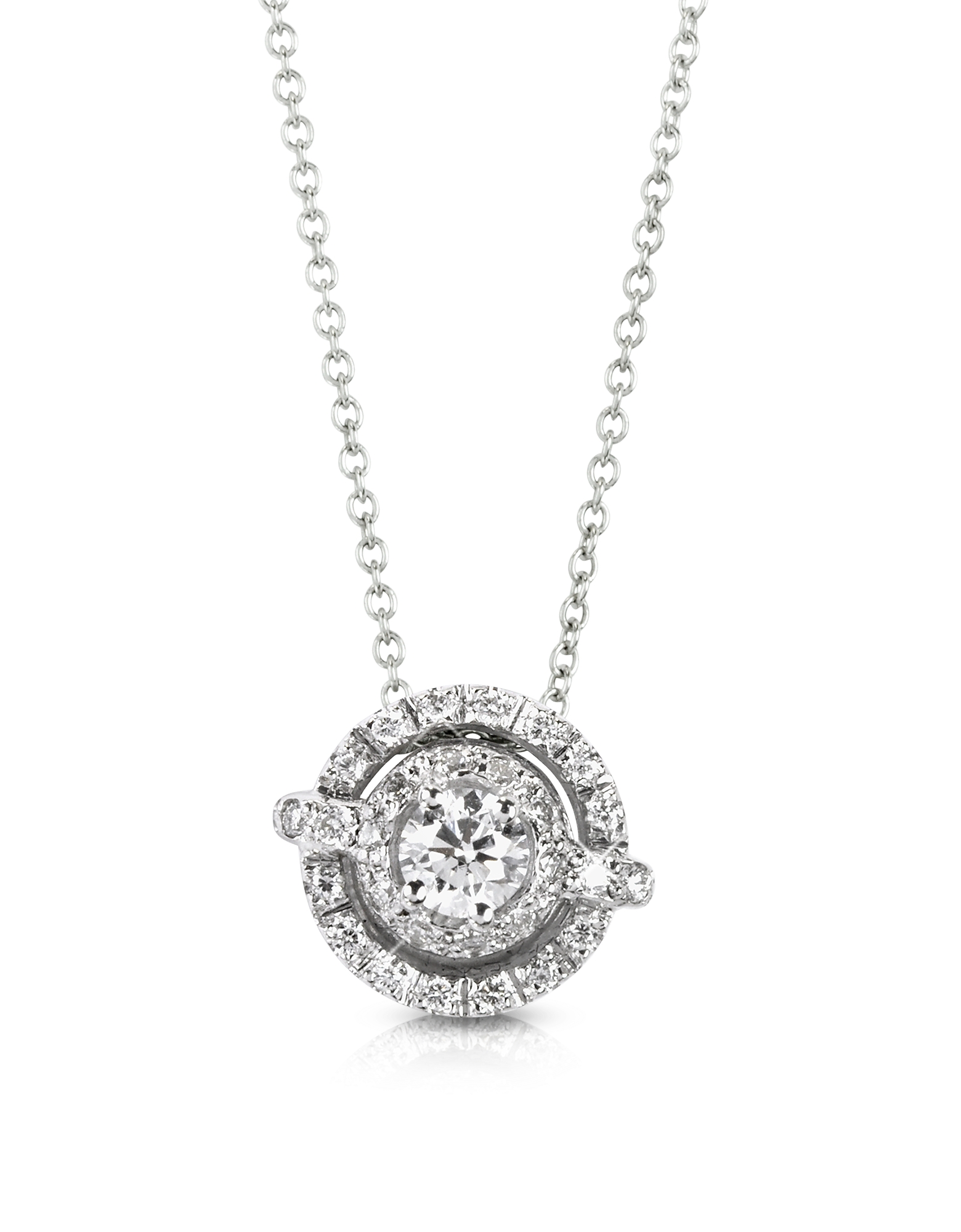 0.42 ctw Diamond 18K White Gold Pendant Necklace