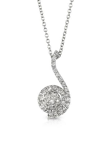 Forzieri - 0.34 ctw Diamond Pave 18K White Gold Pendant Necklace