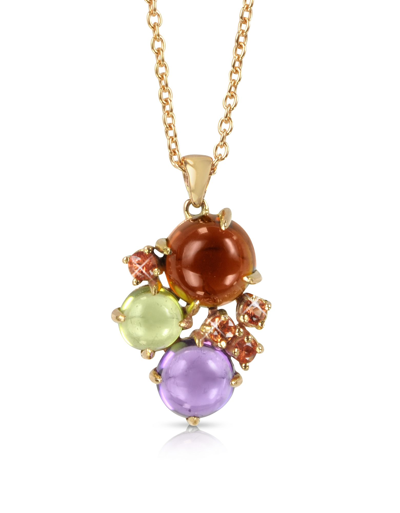 Mia & Beverly Necklaces, Gemstones 18K Rose Gold Pendant Necklace