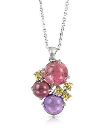 Mia & Beverly - Gemstones 18K White Gold Pendant Necklace