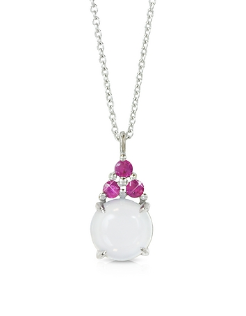 Mia & Beverly - Chalcedony and Pink Sapphires 18K White Gold Pendant Necklace