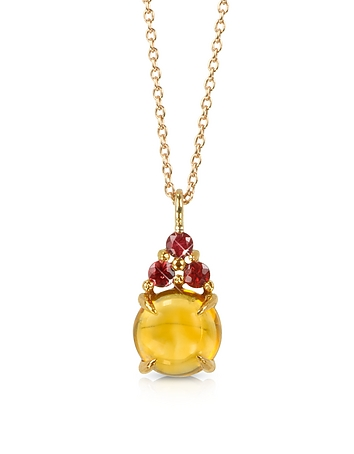 Mia & Beverly - Citrine Quartz and Red Sapphires 18K Rose Gold Pendant Necklace