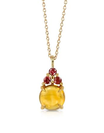 Citrine Quartz and Red Sapphires 18K Rose Gold Pendant Necklace