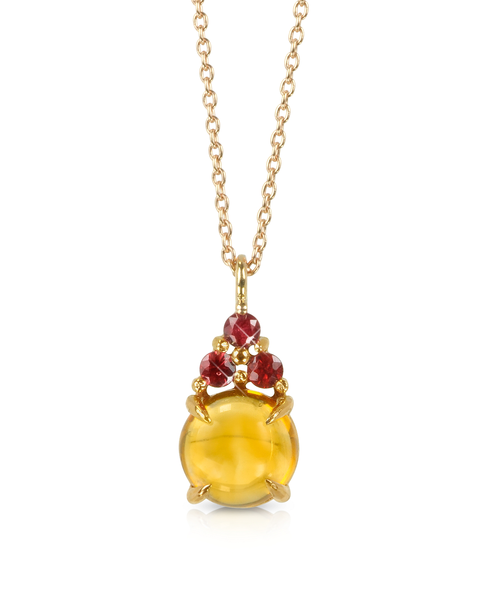 Image of Mia & Beverly Designer Necklaces, Citrine Quartz and Red Sapphires 18K Rose Gold Pendant Necklace