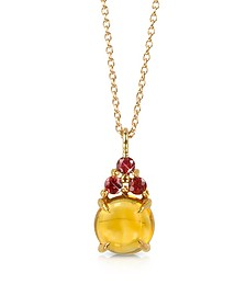 Citrine Quartz and Red Sapphires 18K Rose Gold Pendant Necklace - Mia & Beverly