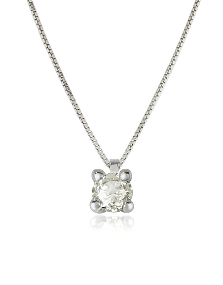 Forzieri Vanity - Collier en Or Blanc 18 cts avec Pendentif en Diamant 0,31 cts