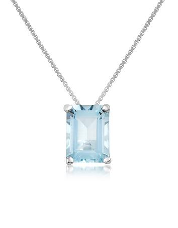 Aquamarine 18K Gold Pendant Necklace