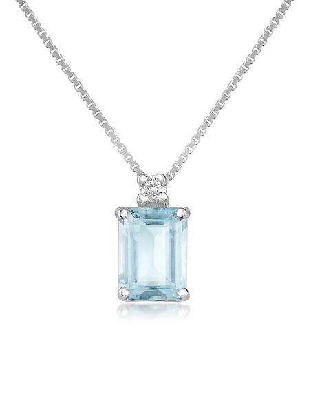 Incanto Royale Victoria - Collier or 750 avec pendentif aigue-marine et diamant