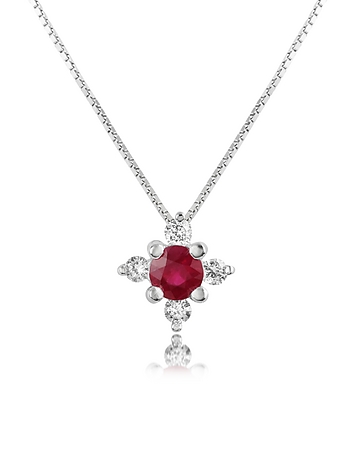 Incanto Royale - Diamond and Ruby Flower 18K Gold Pendant Necklace